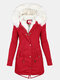 Solid Color Button Long Sleeve Plush Coat With Pocket - Red