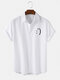 Mens Smile Print Button Up Short Sleeve Casual Shirt - White