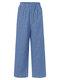 Pliad Print Elastic Waist Loose Plus Size Pants - Blue