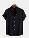 Mens Cotton Linen Stand Collar Plain Basics Short Sleeve Shirts - Black