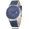 Leisure Sports Women Watch Frosted Dial Leather Band Alloy Case Calendar Chronograph Quartz Watch - Blue
