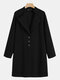Solid Color Stand Collar Button Long Sleeve Casual Coat For Women - Black