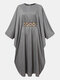 Solid Embroidery Waistband Long Sleeve Loose Casual Muslim Dress - Gray