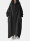 Solid Color Plain Zipper Pocket Long Sleeve Casual Hooded Coat for Women - Black