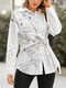 Women Patchwork Print Knotted Long Sleeve Casual Blouse - White