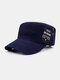 Men Cotton Embroidery Letter Pattern Fashion Outdoor Military Hat Flat Hat Peaked Cap - Navy