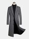 Mens Woolen Single-Breasted Flat Collar Casual Long Overcoats With Flap Pocket - Gray