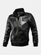 Mens Zip-Up Stand Collar Casual PU Jackets With Pockets - Black