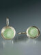 Vintage Gem Inlaid Women Earrings Synthetic Moonstone Pendant Earrings - Silver