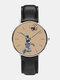 Mens Cartoon Astronaut&Earth Print Quartz Watch - Khaki