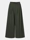 Solid Color Pleated Pocket Loose Casual Pants for Women - Army green