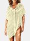 女性のかぎ針編みの中空カバーはプレーンVネックサイドスリットライト水着を持ち上げます - ベージュ