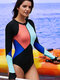 Plus Size Front Zip Patchwork Sun Protection Surfing Slimming One Piece Swimwear For Women