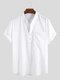 Mens 100% Cotton Breathable Short Sleeve Summer Plain Loose Casual Henley Shirt - White