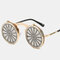 Cross-border Steampunk Clamshell Female Sunglasses Men's Classic Metal Mirror Retro Colorful Sunglasses - #01