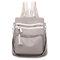 Women Casual Backpack Tassel Shoulder Bag - Khaki