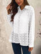 Jacquard Solid Color Long Sleeve Plus Size Shirt for Women - White