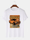 Mens Car Poster Graphic Vintage Short Sleeve 100% Cotton T-Shirts - White