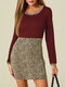 Leopard Patchwork Long Sleeve O-neck Print Dress For Women - Wine Red