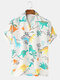 Mens Funny Style Dinosaur Cartoon Printed Short Sleeve Shirts - White