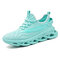 Men Comfy Breathable Knitted Fabric Cushioning Casual Running Sneakers - Blue