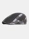 पुरुषों प्लेड पैटर्न पैचवर्क रंग आकस्मिक फैशन Sunvisor फ्लैट टोपी फॉरवर्ड टोपी बेरेट टोपी - काली
