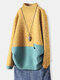 Patched Print Pullover Pocket Long Sleeve Knit Sweater - Yellow