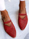 LOSTISY Large Size Retro Braided Veins Pointed Toe Hollow Slingback Flats for Women - Red