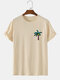Mens Coconut Tree Graphic Casual Short Sleeve 100% Cotton T-Shirts - Apricot