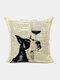 Animal Head Wine Glass Pattern Linen Cushion Cover Home Sofa Art Decor Throw Pillowcase - #04