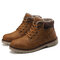 Men Outdoor Slip Resistant Warm Plush Lining Waterproof Snow Ankle Boots - Yellow