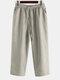 Mens Oriental Cotton Linen Ankle-Length Pants - Khaki