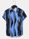 Mens Irregular Ink Striped Print Button Up Short Sleeve Shirts - Blue