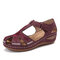 LOSTISY Plus Size Embroidered Hollow Out Flower Hollow Out Summer Fisherman Sandals - Red