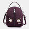 Women Casual Solid Multi-carry Crossbody Bag Backpack - Purple