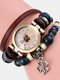 Multilayer Vintage Women Watch Decorated Pointer Four Leaf Clover Pendant Beaded Quartz Watch - #05