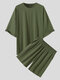 Plus Size Mens Solid Color Drop Shoulder Elastic Waist Casual Two Piece Outfits - Green