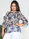 Flower Print Chiffon Knotted Bell Sleeves O-neck Plus Size Blouse - Navy