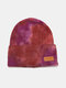 Unisex Core-spun Yarn Knitted Tie-dye Letter Leather Label Fashion Warmth Beanie Hat - #04