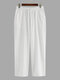 Solid Color Breathable Cotton Linen Bottoms Drawstring Cozy Daily Loose Lounge Pants for Men - White