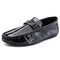 Men Brief Patent Leather Folds Design Hand Stitching Driving Shoes - Black