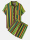 Men Thin & Breathable Cotton Outfits Sets Colorful Stripe Two Pieces - Green