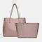 Women 2 PCS Large Capacity Multi-pocket Removable Key Multifunctional Handbag Tote - Pink