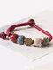 Vintage Ethnic Geometric-shape Beaded Braided Ceramics Alloy Elastic Rope Bracelets - #04