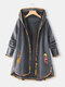 Floral Print Patchwork Long Sleeve Jacquard Hooded Plus Size Coat - Grey
