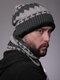 Uomo 2PCS Plus Velluto spesso inverno all'aperto Tenere in caldo Collo Protezione Copricapo Sciarpa Cappello lavorato a maglia Berretto - Grigio