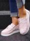 La lona de impresión casual de gran tamaño Mujer ata para arriba los zapatos de los holgazanes de Wedegs - Rosado