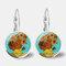 Vintage Geometric Round Oil Painting Series Earrings Metal Glass Gem Daisy Pendant Ear Clips - 12