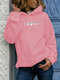 Moon Print Plus Size Casual Hoodie for Women - Pink