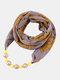 Vintage Chiffon Women Scarf Necklace Beaded Pendant Lattice Flowers Pattern Silk Scarf - #02